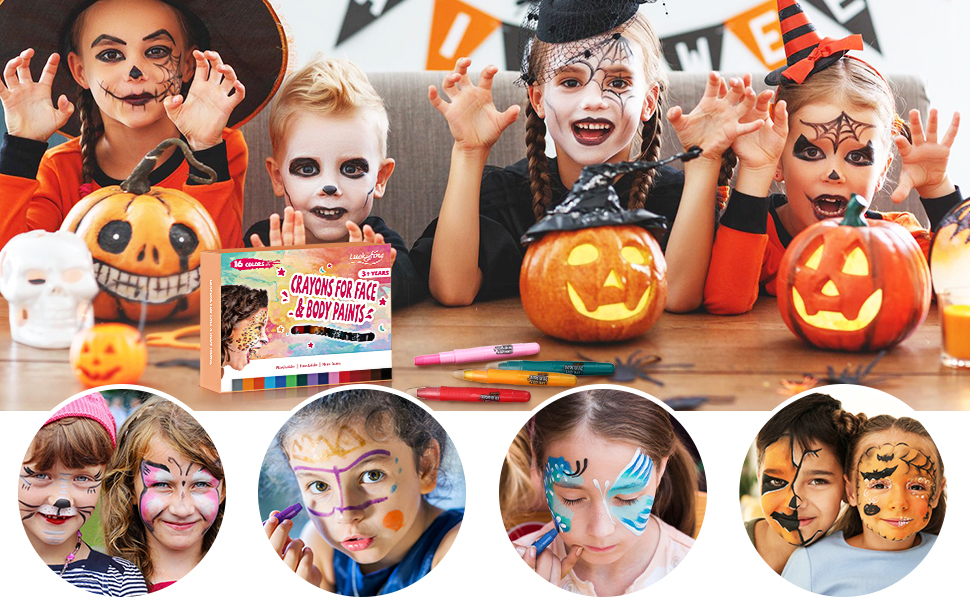 Kits de Peinture Faciale Crayons Maquillage Non-Toxiques pour Enfants