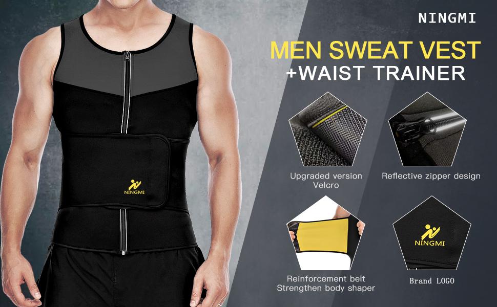NINGMI Sauna Vest for Men-Sweat Vest for Men Waist Trainer Trimmer-Workout Weight Loss Vest with Waist Belt for Fitness