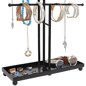 black jewelry stand closeup of ring tray