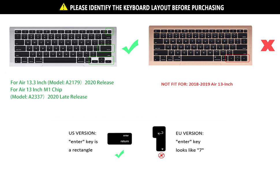 KEYBOARD COVER for macbook A2179 us layout