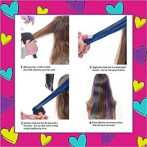 Girlzone Regalos para Niñas Tizas para el pelo 10 Tizas de Color Lavables Fácil Usar: 10 Colores Metálicos Hair Chalk for Girls Regalo de Cumpleaños 3 ...