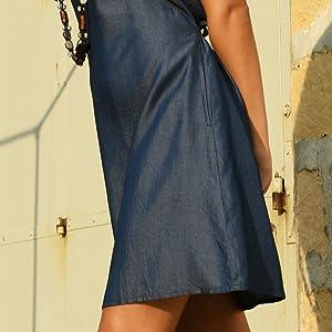 back s blue apparel white pink m summer adjustable jean dress dresses casual women womens sleeveless