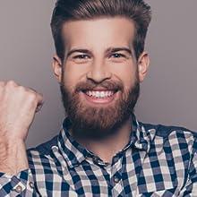 satisfaction guaranteed bearded man happy