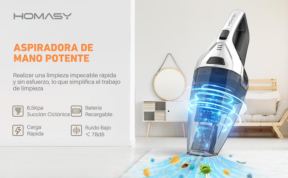 Homasy Aspiradora de Mano, 7000 PA/14.8V Aspirador Mano Sin Cable , Potente Succión Ciclónico/ Carga Rápida, Aspirador seco y húmedo para limpieza de pelos de mascotas, polvo, grava: Amazon.es: Hogar