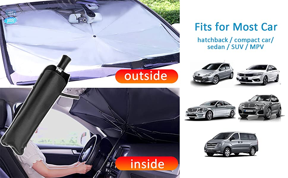 Kwaks Pare-Soleil de Voiture Pare-Brise Parapluie de Voiture UPF50 1# Grand Parasol Coupe UV pour Pare-Brise pour prot/éger lint/érieur de la Voiture