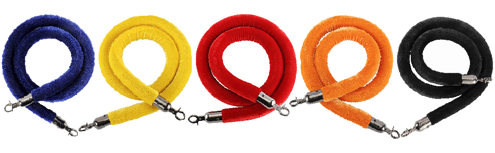 NovelBee Velvet Rope with Black Steel Hooks,Crowd Control Stanchion Post Queue Line Barrier