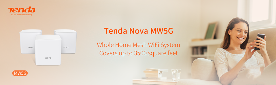 Tenda NOVA MW5G Whole Home Mesh Wifi System Covers Up to 3500 Square Feet