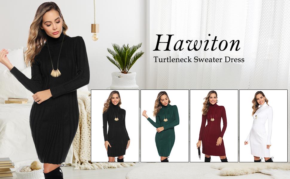 Hawiton Damen Strickkleid Rollkragen Pulloverkleid mit Gemustertem Stretch Minikleid Bodycon Pullikleid Weihnachten Winterkleid f/ür B/üro und Freizeit