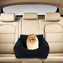 Dog Car Bed Puppy Booster Seat Dog Travel Car Carrier Bed with Storage Pocket Clip-on Safety Leash