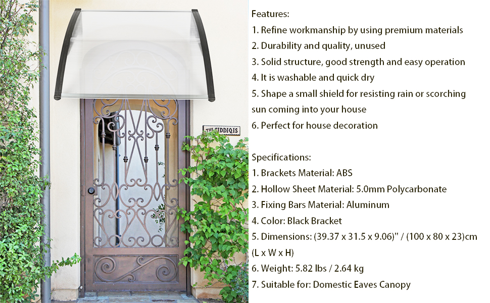 Papake Window Awning Door Canopy,40x 30Household Application Door /& Window Rain Cover Eaves Canopy Mini Shelter for Resisting Rain