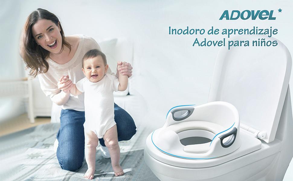 Reductor de WC para Beb/é Ayuda para aprender a ir al ba/ño Tapa WC con reposabrazos Aerobath Asiento Inodoro para Ni/ños respaldo deflector dise/ño antideslizante tapizado