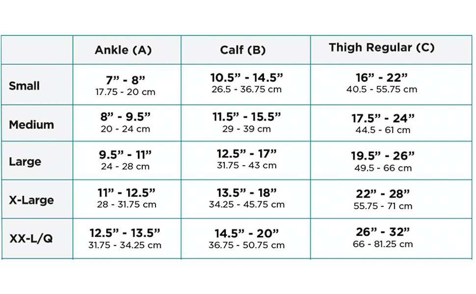 Ames Walker Microfiber Opaque Compression Hosiery Size Chart