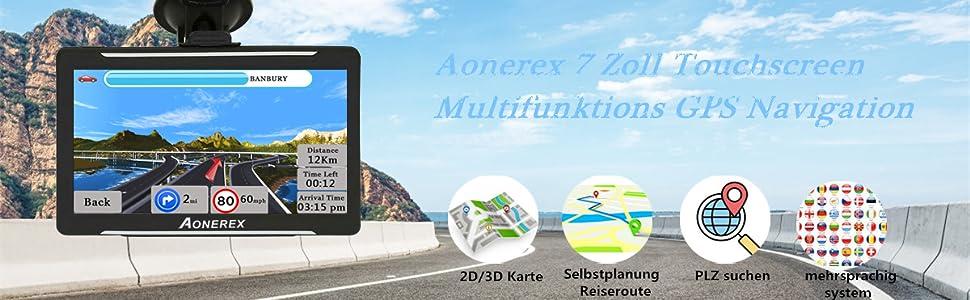 Aonerex 7 Zoll Touchscreen Multifunktions GPS Navigation