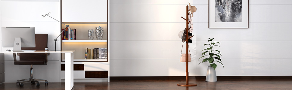 LANGRIA Free Standing Coat Rack Rubberwood Hat Hanger Tree Holder, Suits Hallway Entryway Room Home
