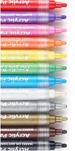 INMUA Acryliques marqueurs 12 Couleurs Galets Pointe Fine Marqueurs pour Peinture pour Enfants de Roche M/étal Id/éal pour Les Cadeaux de No/ël /étanches Toile Plastique
