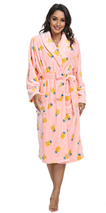 Womens Printed Plush Robes
