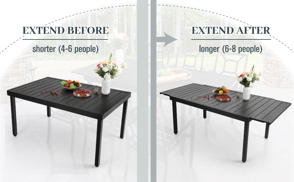 expandable patio dining table
