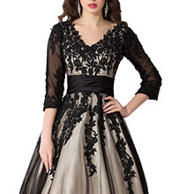 v neck lace prom dress