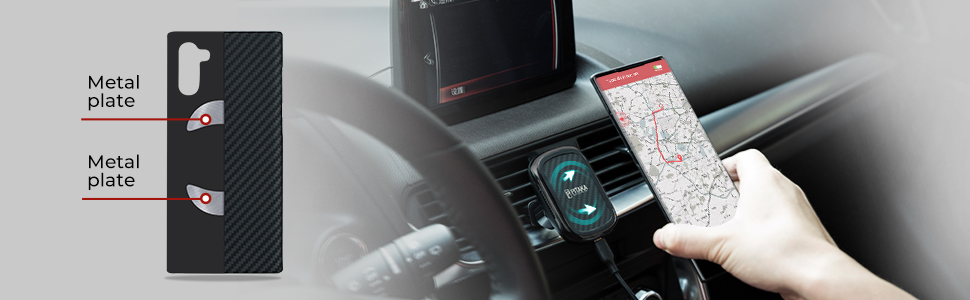 built-in metal plates conmpatible with pitaka magnetic car mount