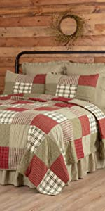 Details about  /VHC Brands Farmhouse Standard Sham Red Patchwork Rory Schoolhouse Bedroom Decor