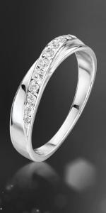 Anello crossover in zirconi d'argento