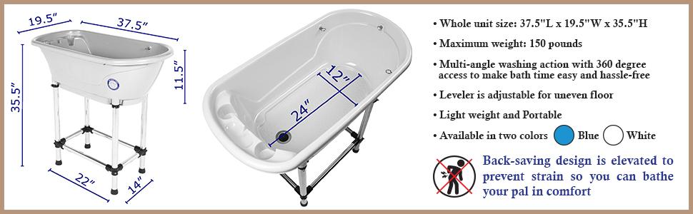 Flying Pig Grooming Dog Pet Cat Bath Tub Wash Station Spec Sheet Portable Home Use Tub