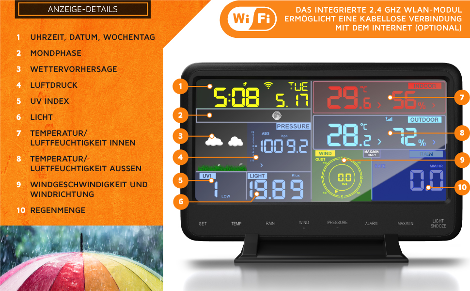 Draadloos weerstation met 7-in-1 buitensensor, weergegevens via app, wifi, binnen- en buitentemperatuur