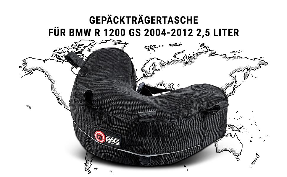 Qbag Hecktasche Motorrad Motorradtasche Gepäckträgertasche Für Bmw R 1200 Gs 04 12 Spezielle Form Gepolsterte Unterseite Reflektierende Keder Schwarz 2 5 Liter Auto