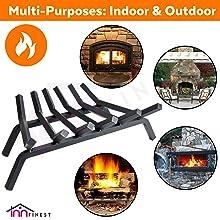 "Fireplace Log Grate 27 30 33 inch 6 7 8 Bar Fire Grates Heavy Duty 3/4"" Wide Solid Steel"