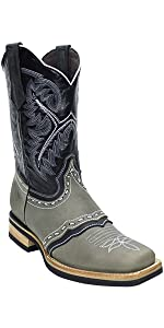 silverton wyoming genuine leather western square toe gray cowboy boots