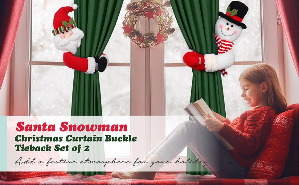 Christmas Window Curtain Santa Plush Doll Buckle Holder Tieback Xmas Home Decor