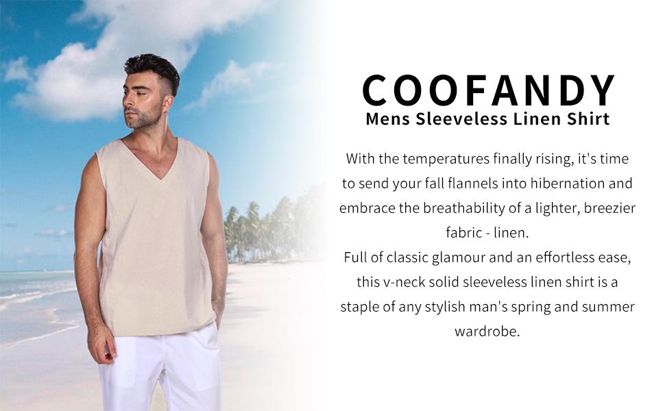men sleeveless linen shirt