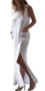 Sleeveless Pocket Loose Long Dress Split Maxi Casual Dresses