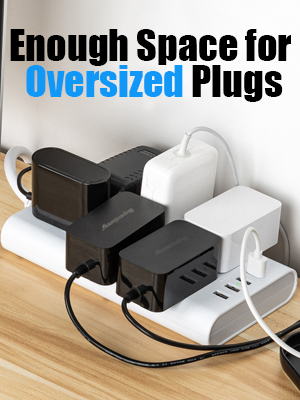 widely spaced for oversize plugs extension cord strip