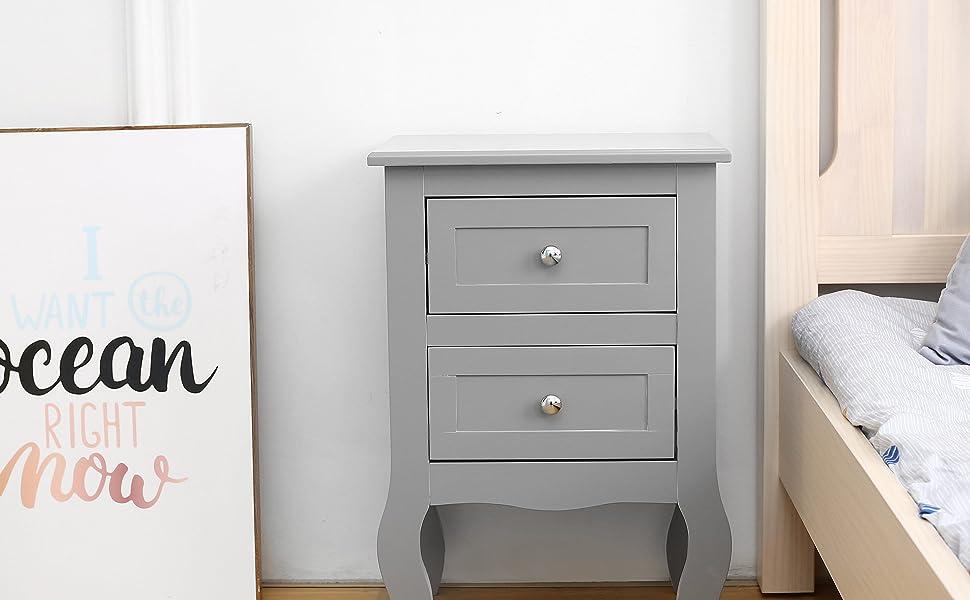 Grey Bedside unit - Lifestyle look