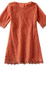 Toddler Girls Cotton Elegant Lace Half Sleeve Princess Dress