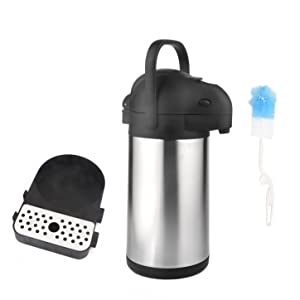 101 Oz (3L) Airpot Thermal Coffee Carafe/Lever Action/Stainless Steel Insulated Airpot w/ Drip Tray
