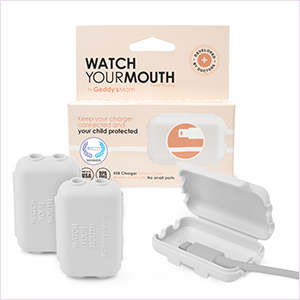 White Watch Your Mouth, Child-Safe USB Charger Safety Cover