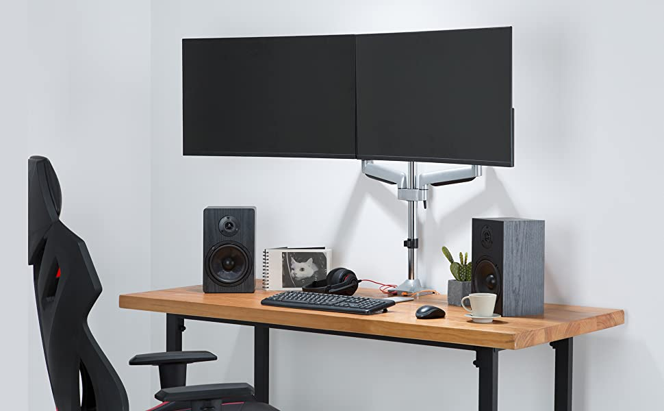 we designed this monitor mount for maximum ergonomic comfort to relieve eye, neck and back strain.