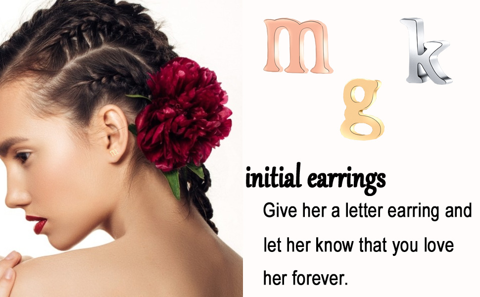 initial earrings for women girls