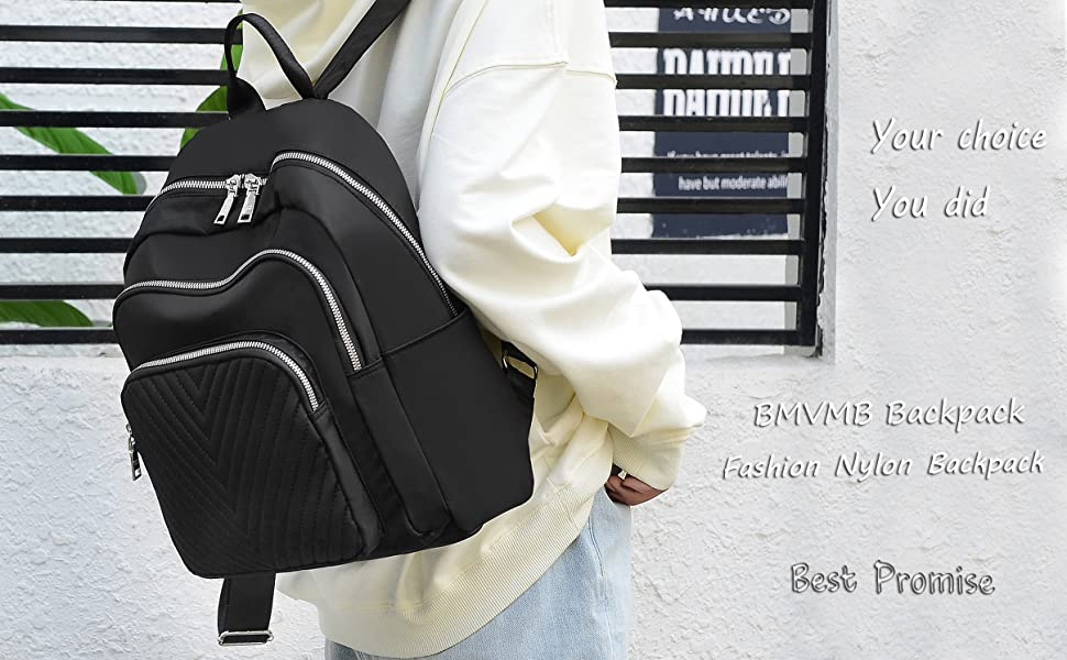BMVMB Nylon Women Backpacks Casual Lightweight Strong Small Backpacks Fashion Rucksack Daypack for Women Lade Girl Teenager