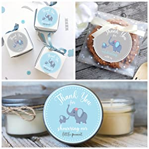 party favor thank you sticker box bag candle blue gray little peanut cookie baby shower 1st birthday