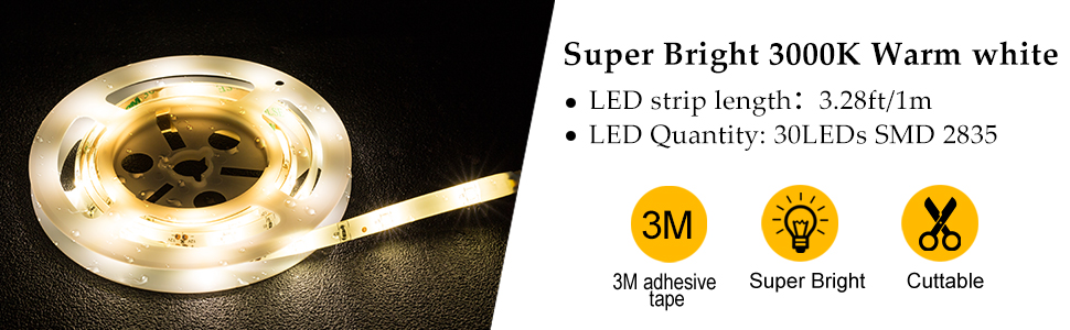warm white led strip light battery