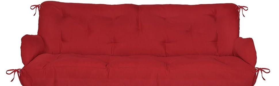 Beautissu Flair HS 180x50x8 cm Colchón y Cojines para Columpio/Balancín Hollywood para Banco jardín Rojo