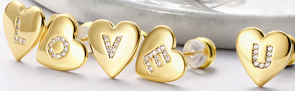 heart intial stud earrings