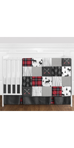 Grey, Black and Red Woodland Plaid and Arrow Rustic Patch Baby Boy Crib Bedding Set
