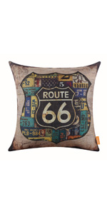 LINKWELL Route 66 Pillow Cover