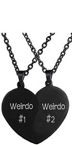 black weirdo#1 weirdo#2 best friends necklaces