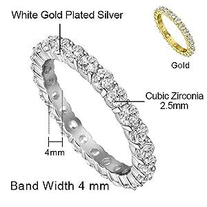 diamond silver wedding ring for women