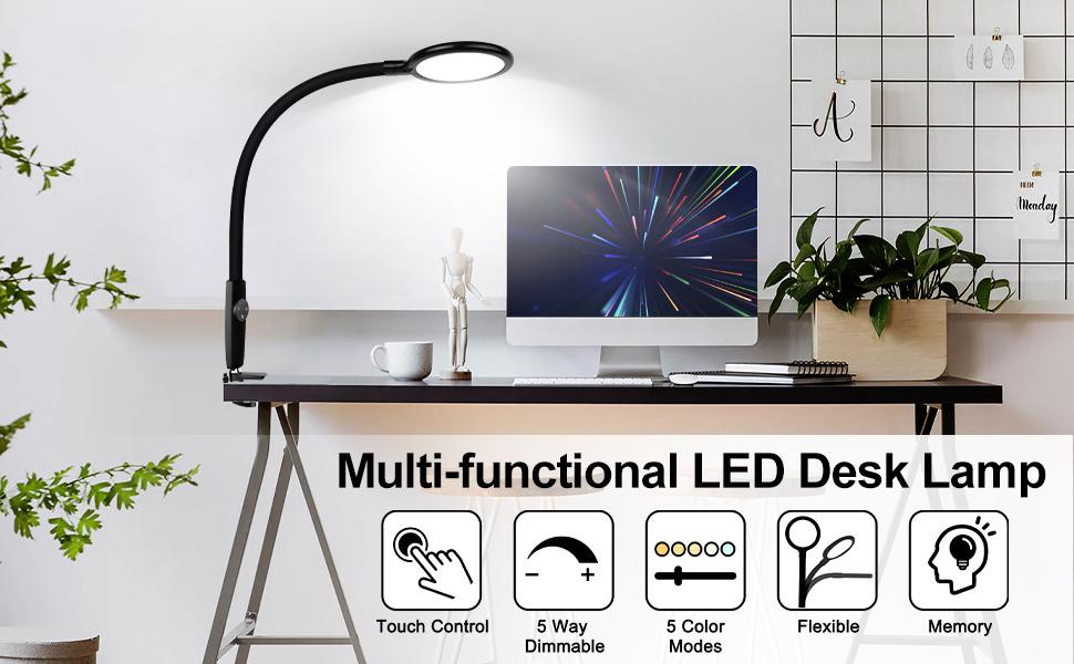 LED Desk Lamp Flexible Gooseneck,
